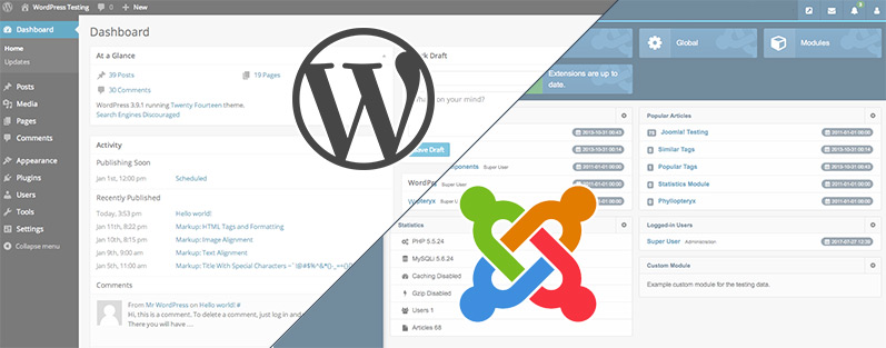 WordPress vs Joomla - CMS a confronto